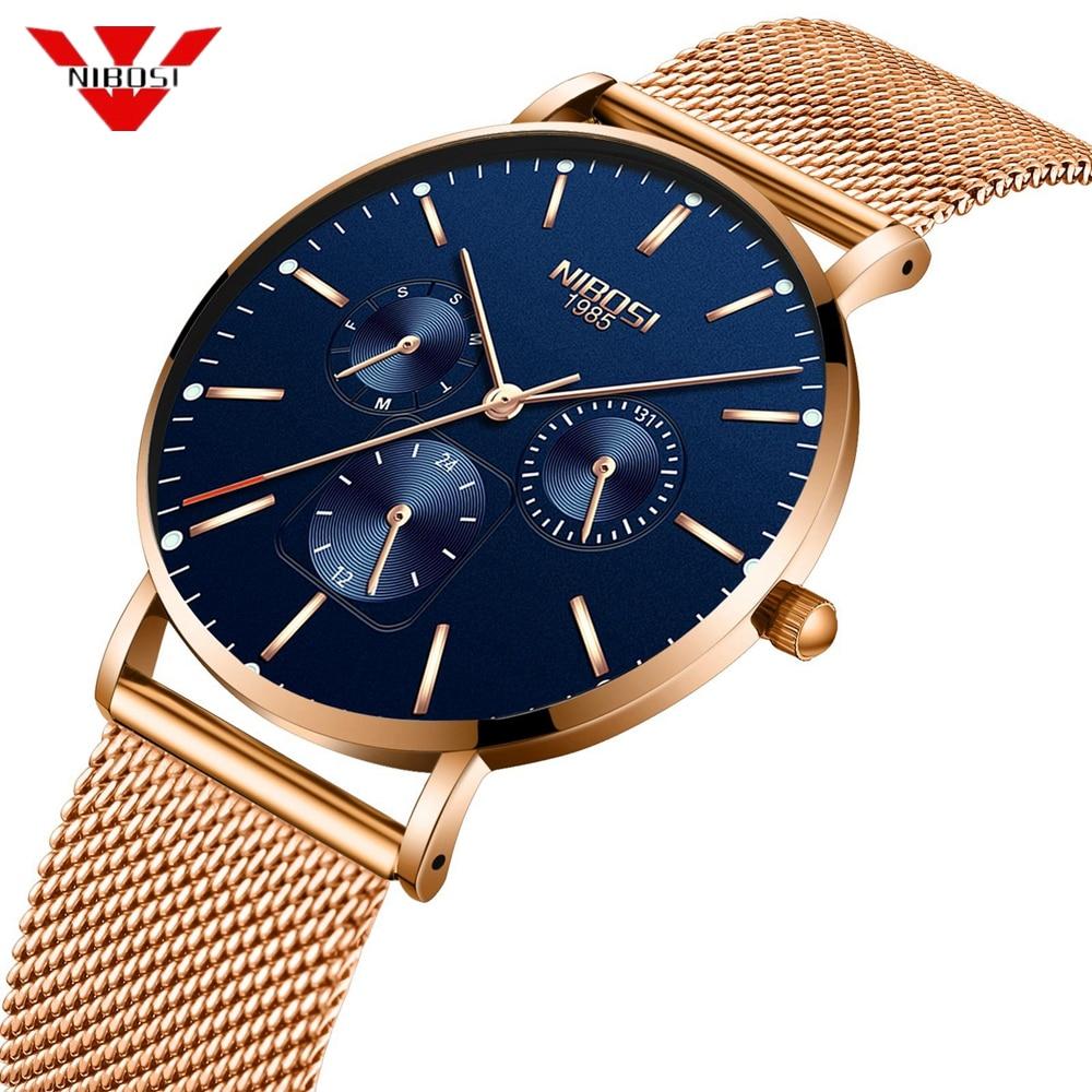 NIBOSI 2018 Ultra Thin Fashion Male Wristwatch Top Brand Luxury Business Watches Waterproof Scratch-resistant Men Watch Clock