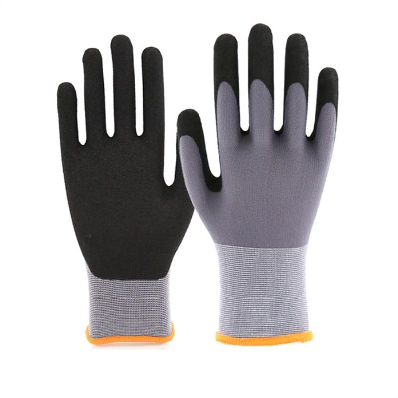15 Needle Comfort Slip Nylon Scrub Spray Salt Labor Insurance Glove Wear-Resistant Anti-Oil Mechanical Maintenance Safety Gloves