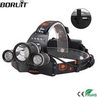 BORUiT RJ 5001 XM L2 LED Headlamp 4 Mode Power Bank Headlight Waterproof Head Torch Camping Hunting Flashlight Use 18650 Battery