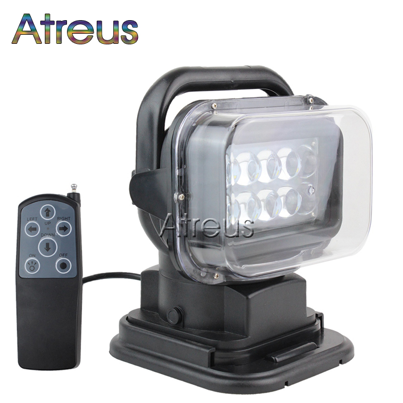 Atreus 50W 7 LED Spot Light With Remote Control Searching lights For JEEP SUV Truck Hunting Boat Camp Lamp bulb car accessories 2000lb 12v electric winch for car jeep truck with synthetic rope remote control 12v dc winches 4x4