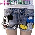 Preppy Style 2017 Summer New Arrival Cartoon Sequins Denim Shorts Women High Waist Jeans Shorts Plus Size Short Jeans Feminino