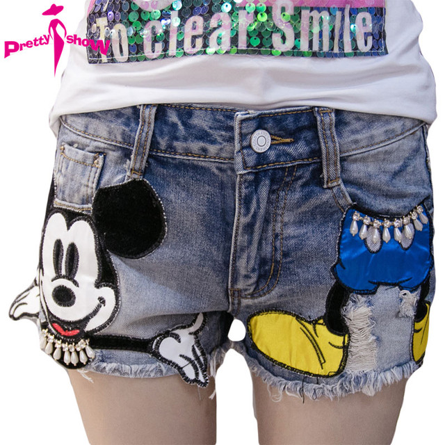 Preppy Style 2017 Summer New Arrival Cartoon Sequins Denim Shorts Women High Waist Jeans Shorts Plus Size Short Jeans Feminino