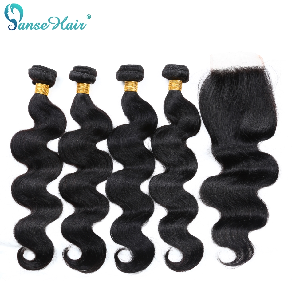 Panse Hair Brazilian Virgin Hair Body Wave Hair Customized 8-28 Inches 4 Bundles Hair Weft With One Lace Closure