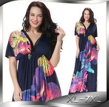 Fashion Women Bohemian Dresses Robe Femme Casual Wear Vestido Plus Size Deep V Loose Dress Printed