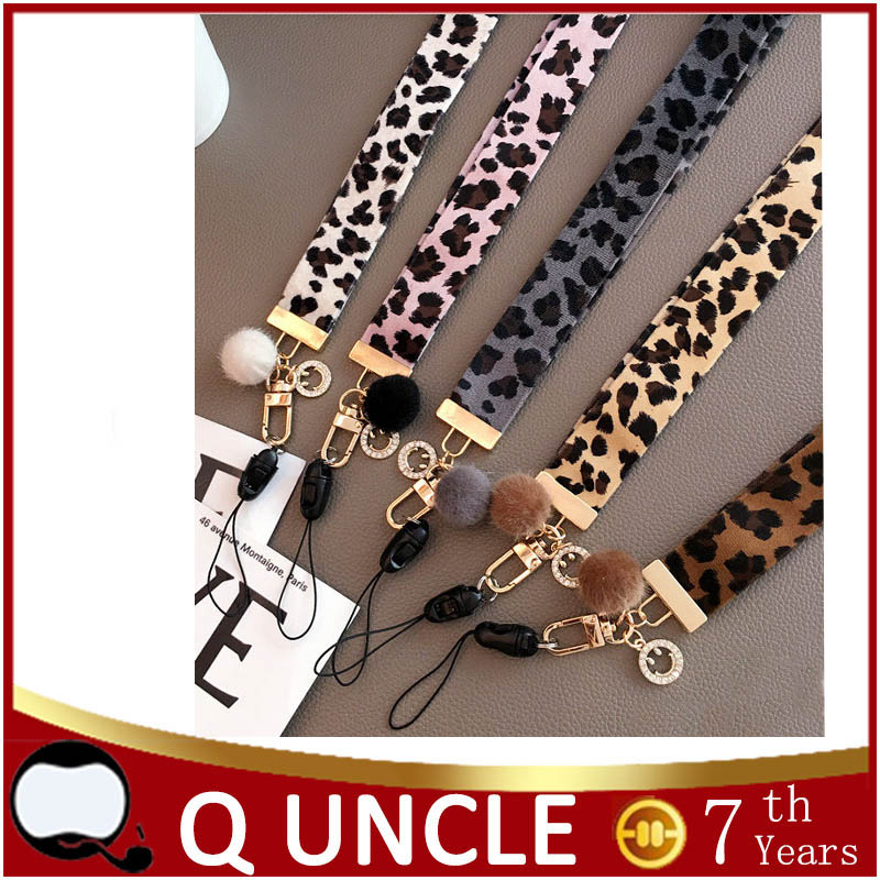 Q UNCLE Mobile Phone Strap Leopard pattern Neck Strap For Keys ID Card For Huawei USB Badge Holder DIY Hang Rope