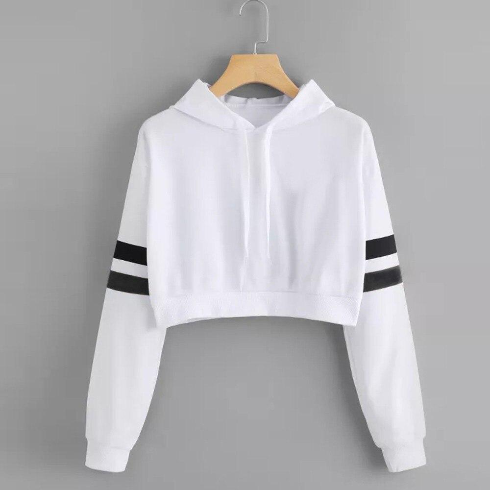 Women Crop Hoodies Autumn White Sweatshirt Crop Top Long Sleeve Hoodie Casual Pullover Female Sweatshirt Tops For lady Sudadera