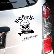 Aliauto Fish Fear Me Funny Skull Go Fishing Car Sticker Reflective Decal For Vw Golf Polo