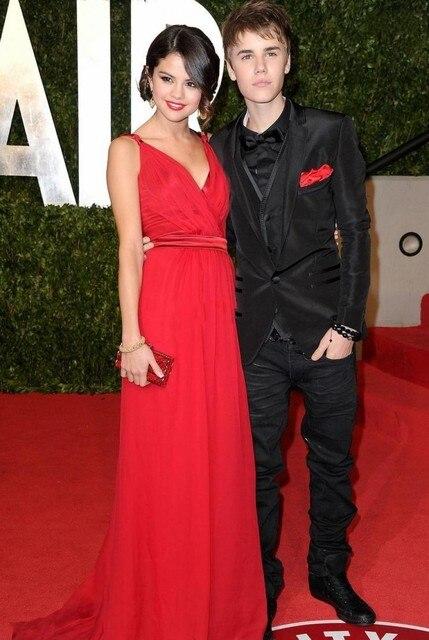 Justin Bieber And Selena Prom Dress Gomez Oscar Party of Vanity Fair red  Long Prom Dresses Robe De Festa Bestoffers GL d2ff3c73b74e