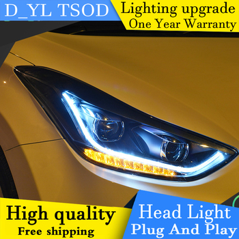 Car Styling Headlights for Hyundai ELANTRA  2012-2015 LED Headlight Head Lamp LED Daytime Running Light LED DRL Bi-Xenon HID
