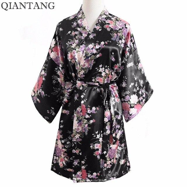 Plus Size Signore Di Modo Di Estate Mini Kimono Corto Accappatoio  Dellu0027abito Nero Donne