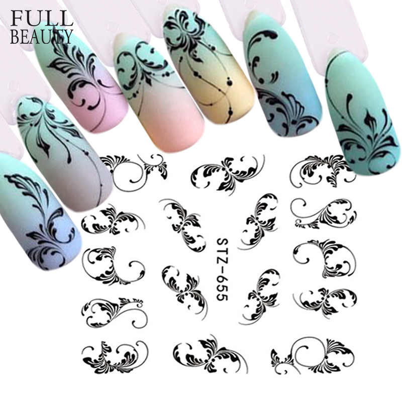 Black Flower Vine Nail Art Water Sticker Leaf Lace Slider