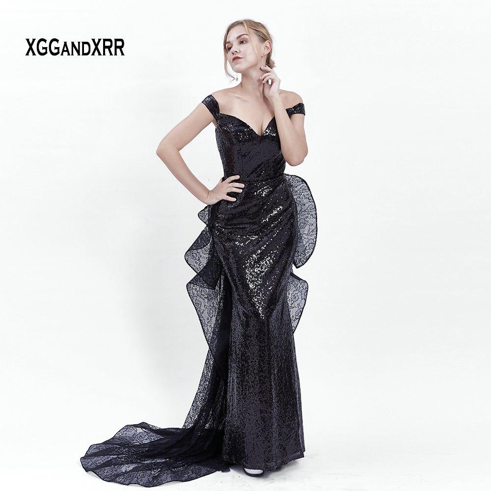 Sexy Black Mermaid   Prom     Dresses   2019 Elegant V Neck Backless Lace Evening   Dress   Elegant V Back Long Party Gown Detachable Train