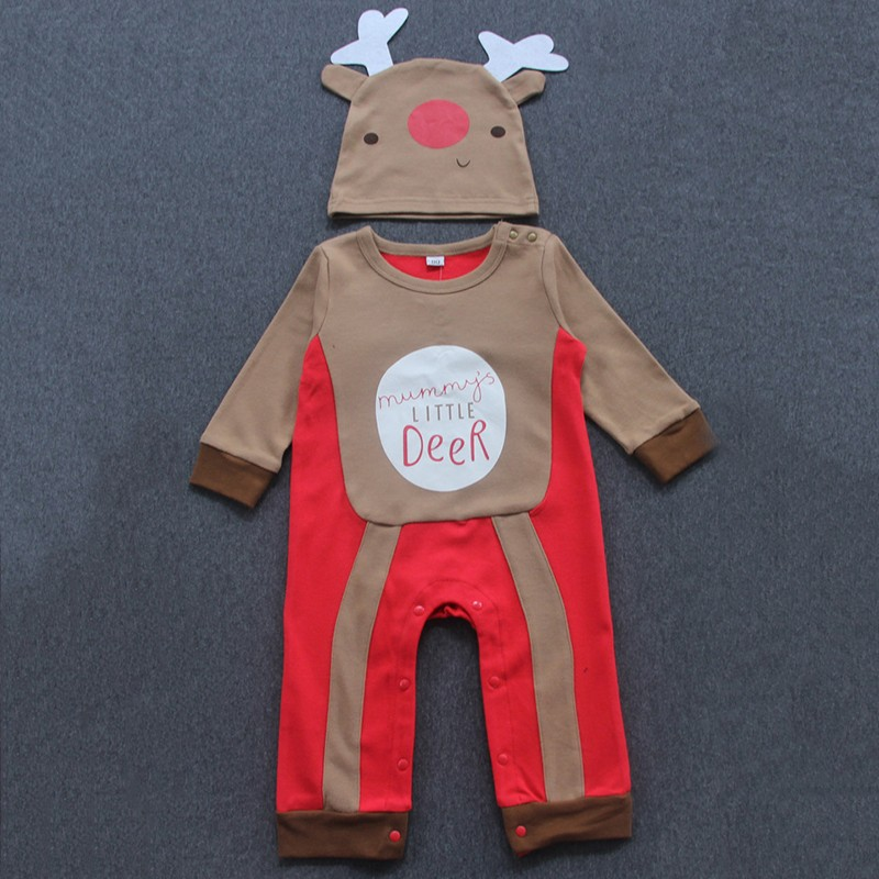 HTB1znD OpXXXXXuapXXq6xXFXXXc - Anlencool Baby Rompers  New Autumn Christmas Baby Girl Clothes Neonatal Clothes Baby Clothes Fawn Print Rompers+Hat 2Pcs