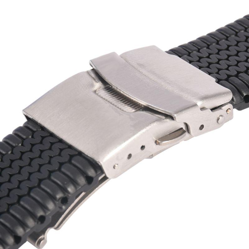 все цены на New Silicone Rubber Watch Strap Band Deployment Buckle Waterproof 20 22 24mm онлайн