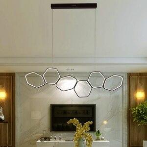 Image 5 - Lican Lampadario Moderno Led Hanglampen Voor Bar Keukens Kantoor Schorsing Cord Aluminium Cirkel Ringen Led Hanglamp