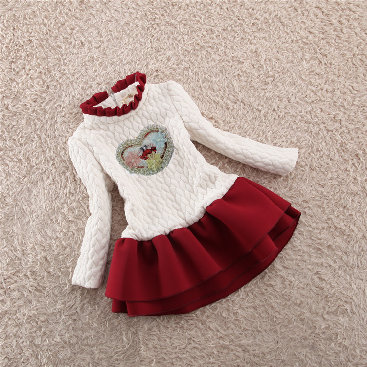 3-16T Thicken Baby Girls Dresses 2018 New Winter O-neck Princess Dress For Girl Plus Velvet Floral Cotton Chidren Clothes 3ds190