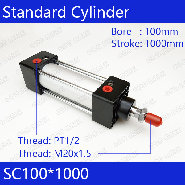 SC100*1000 Free shipping Standard air cylinders valve 100mm bore 1000mm stroke single rod double acting pneumatic cylinder sc100 100 standard air cylinders with 100mm bore and 100mm stroke sc100 100 single rod double acting pneumatic cylinder