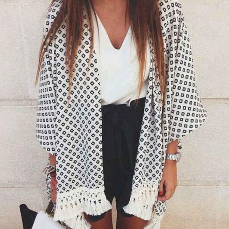 夏の新ファッション女性長袖ルーズ小さなネックアーガイルプリントタッセルカーディガンコートショール着物カーディガン