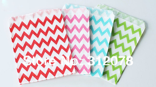 5*7 Inch Wedding Decor Zig Zag Chevron Paper Favor Goodie Bags for Baby Shower Birthday Party,100 pcs/lot