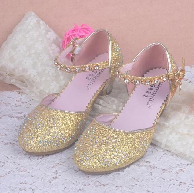 828d54b2c058 Children Princess Sandals Kids Girls Wedding Shoes High Heels Dress Shoes  Party Shoes For Girls Pink Blue Gold dance shoes
