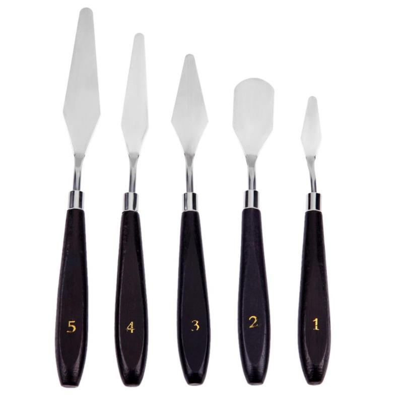 5pcs Stainless Steel Spatula Palette Knife Painting Mixing Scraper Set Spatula Knives For Artist Oil Painting Tools