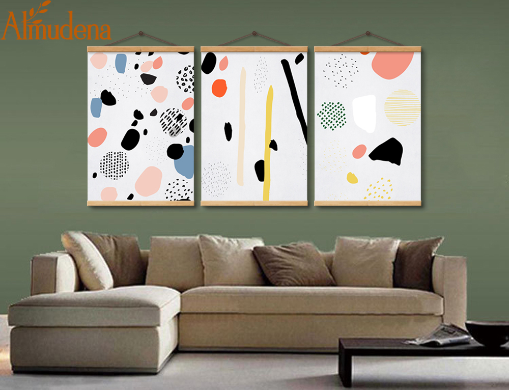 ALMUDENA Abstract Color Blocks Painting On Canvas Framed 3