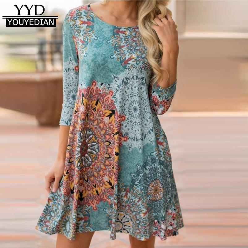 Frauen Herbst Langarm Vintage Boho Mini Kurzes Kleid Abendkleid Party Strand Blumendruck Damen Kleid Robe femme ete 2017 #907
