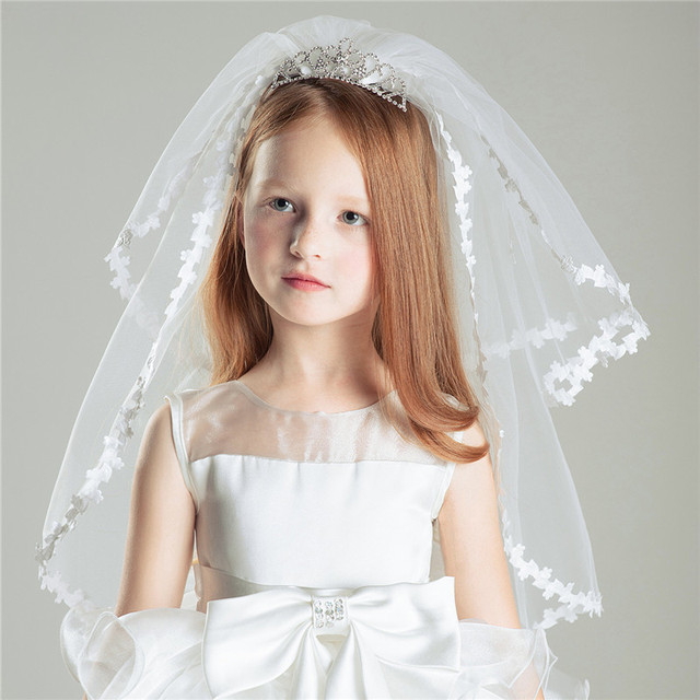 Dreamy Two Layers Tulle Flower Girl Veils With Tiara Sweet ...