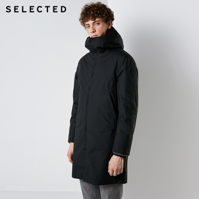SELECTED New Men's Long Down Jacket Male Hat Waterproof Parka Removable Liner Winter Down Coat Warm Clothes S|418412518