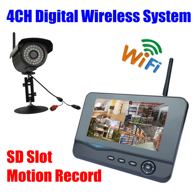 Digital  IP66 Infrared IR wifi security Camera Wireless outdoor Video Surveillance System usb DVR kit Monitor sd card recording wireless waterproof security camera system 2 4g long transmitter distance 4cameras dvr monitor up to 32g sd card wifi ipcam kits
