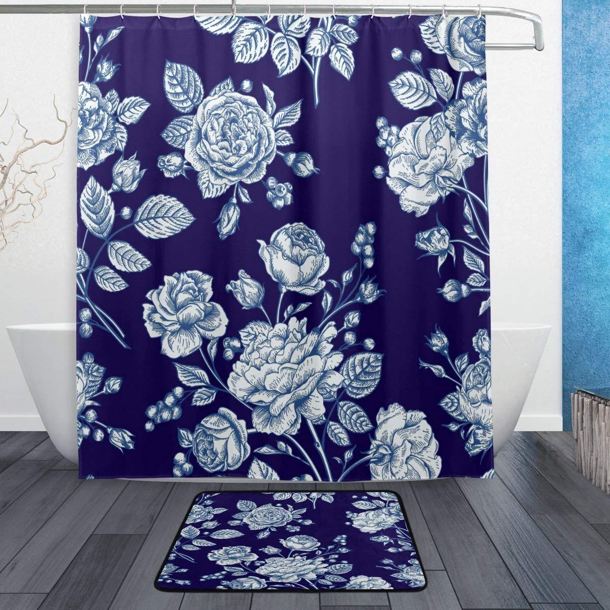 Valentine Rose Floral Flower Navy Blue Shower Curtain Rug