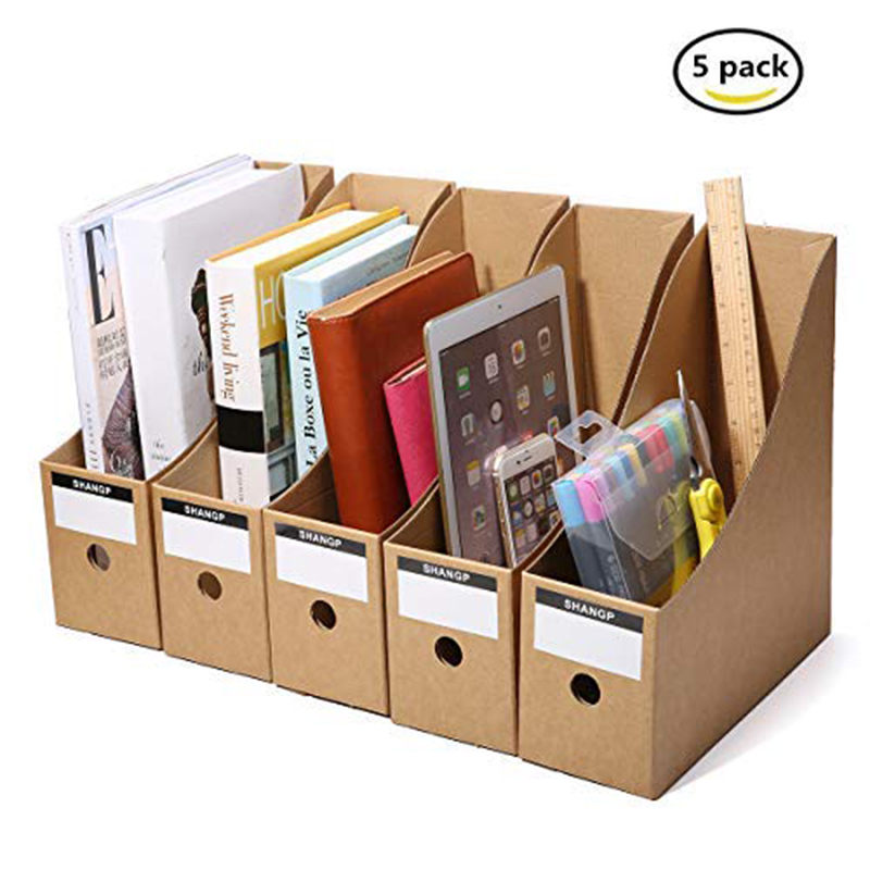 Magazine File Holder Organizer Box,Drawer Kraft Paper File Holder Office Supplies Desk Storage Organizer Documents File Box