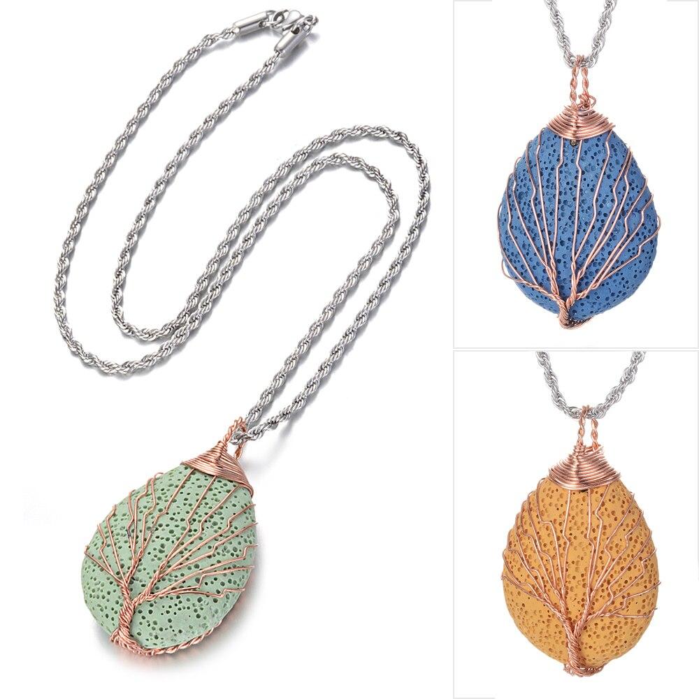 10pcs lot Clay Water Drop Lava Stone Diffuser Pendant Necklace For Women Essential Oil Diffuser Lava