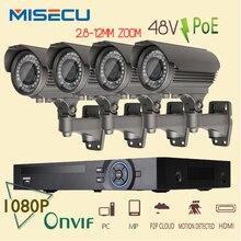 Onvif 1080 P 8CH NVR KIT HD real 2MP POE SWITCH 48 V 4 unid módulo POE IP 36 unids IR 2.8-12mm zoom Cámara Impermeable P2P cctv kit