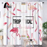 FYMX Hot Flamingo Window Curtains Curtains Blackout Living Room 3D Printed Drapes In The Nursery Thermal Insulated Curtains