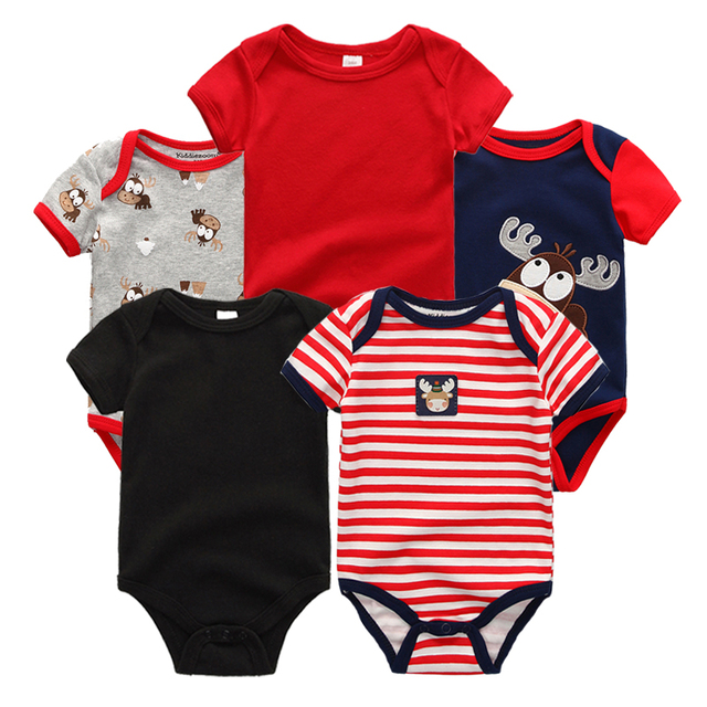 5PCS/LOT Unisex Top Quality Baby Rompers Short Sleeve Cottom O-Neck 0-12M Novel Newborn Boys&Girls Roupas de bebe Baby Clothes