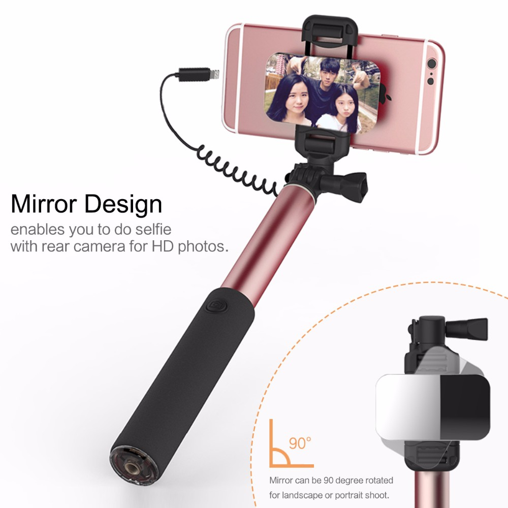 rock portable wired control extendable mirror selfie stick for iphone 7 7 plus ebay. Black Bedroom Furniture Sets. Home Design Ideas