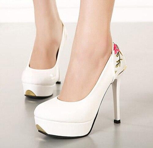Noir De Hauts Dames Tissu Talons Mode Sexy Blanc Femme forme Fleur Shoeswsh628 blanc Femmes 1 Plate Noir Patchwork Chaussures Imprimer Couleurs Pompes gRnx4R