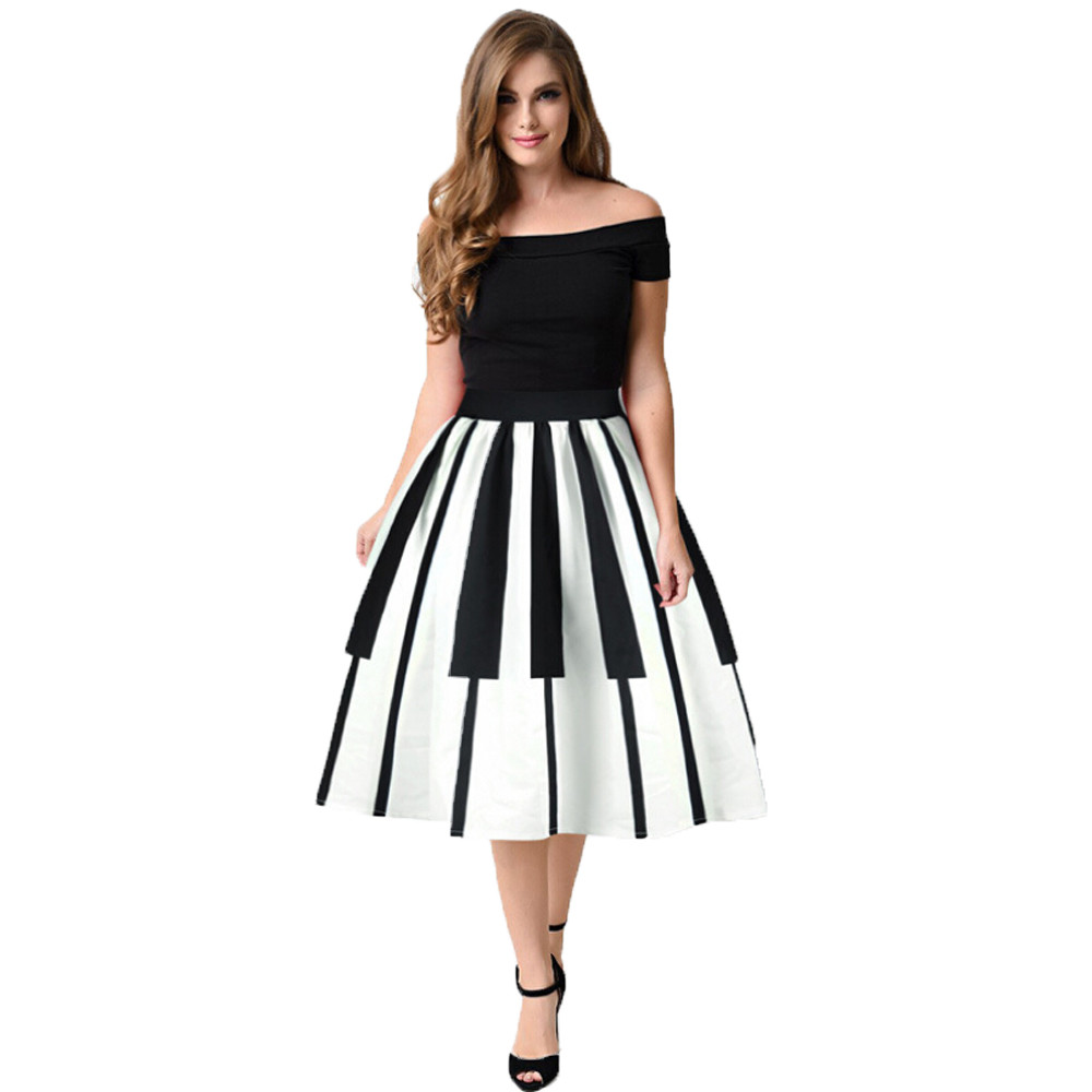 feitong Women High Waist skirt Piano Keys Printed Skirt Thin Skirt Fancy Pattern SkirtBlack Casual High Waist Vintage skirt #w40