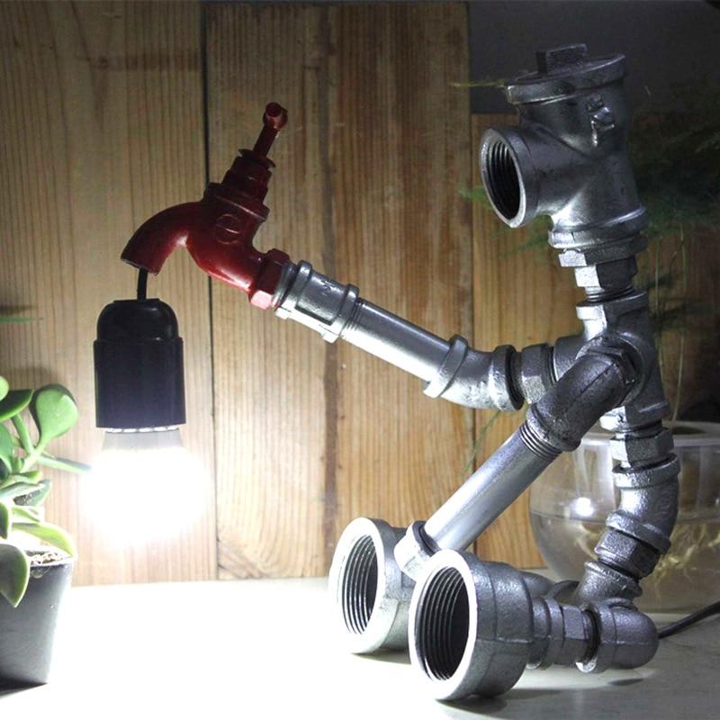 Cama lâmpada do vintage preto prateado bronze robot LED 4 loft Edison lâmpada lâmpada de mesa lâmpada de cabeceira frete grátis|Luminárias de mesa| |  - title=