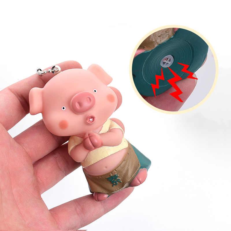 Animal bonito Dos Desenhos Animados Porco Som Chaveiro Pele De Coelho Pom Pom Pompom Corda De Pulso Sino Chaveiro Llavero Chaveiro Charme Saco pingente