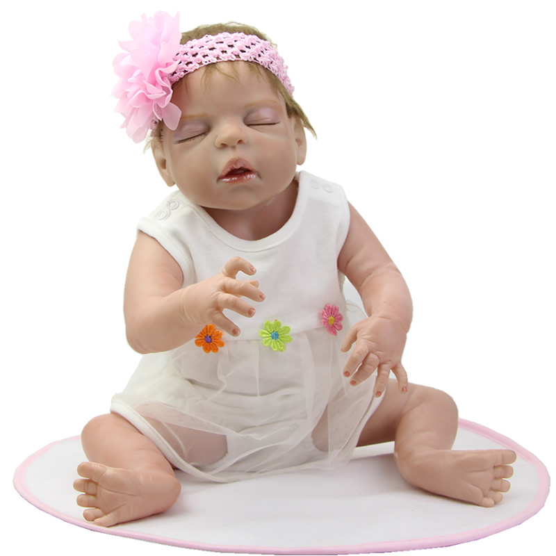 Full Silicone Vinyl Real Touch Reborn Baby Doll 22 Inch Sleeping Girl Newborn Dolls Wearing White Dress Kids Birthday Gift handmade 22 inch newborn baby girl doll lifelike reborn silicone baby dolls wearing pink dress kids birthday xmas gift
