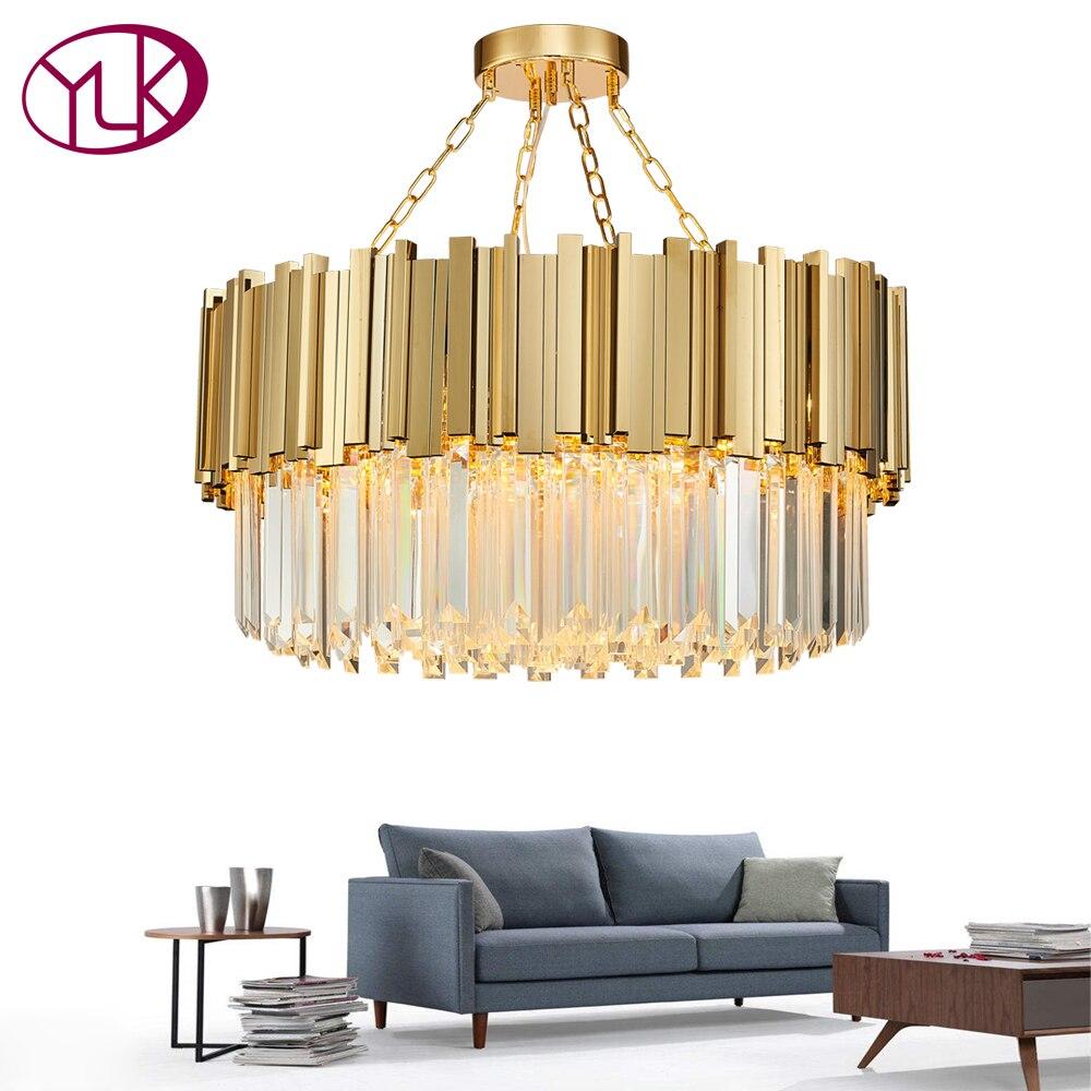 Youlaike Moderne Cristal Lampe Lustre Pour Salon De Luxe Or Rond En Acier Inoxydable Chaîne Lustres Éclairage