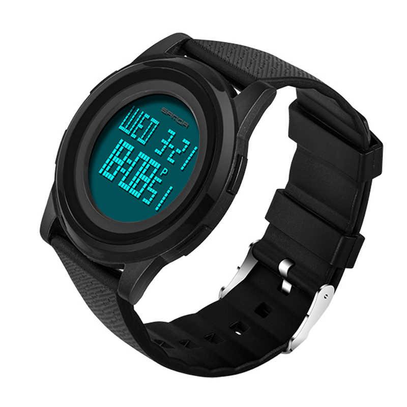 9 мм супер тонкий SANDA спортивные часы Для мужчин брендовые Роскошные электронный светодиодный цифровой наручные часы для мужчин, мужские часы Relogio Masculino