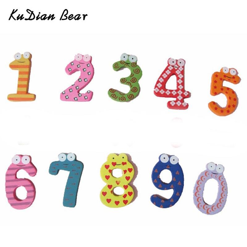 KUDIAN медведь 10 шт. детские игрушки номер новорожденных обучения Образование игрушки Цвет яркие деревянные игрушки BYA020 PT49