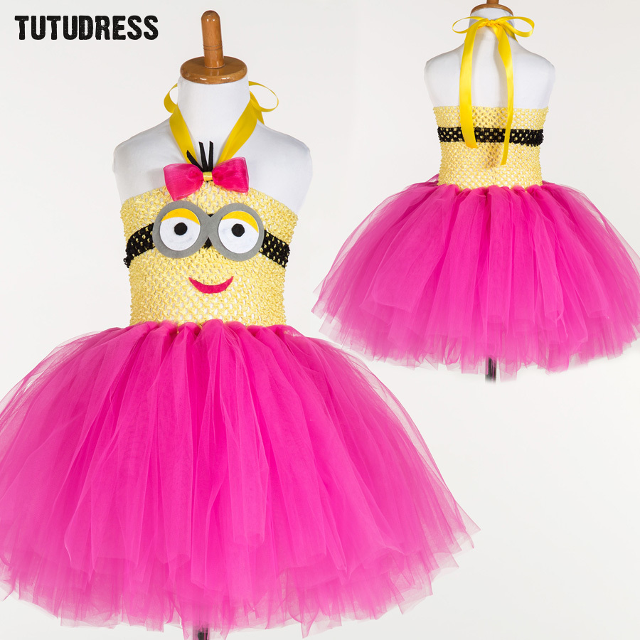 Baby Girl Princess Minion Tutu Dress Children Cosplay Girls Clothes Halloween Costume Kids Party Birthday Cartoon Tulle Dresses moeble 2017 baby witch costume halloween girl tutu dress kids fancy clothing for party handmade children tulle tutu dresses