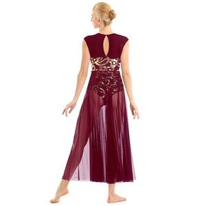 Image 3 - TiaoBug שרוולים פרחוני פאייטים התעמלות בלט בגד גוף נשים ארוך שמלת למבוגרים מודרני עכשווי לירי ריקוד תלבושות