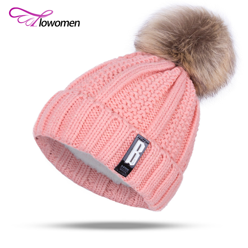 Flowomen 2017 New Fashion Winter Hat Women Warm Cotton Knitted Skullies Beanies Thick Soft Fur Caps Outdoor Casual Pom Pom Hats skullies beanies the new russian leather thick warm casual fashion female grass hat 93022