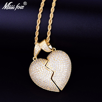 Missfox Couple Bursting Love Pendant Chain Necklace Heart shaped Copper Metal Golden Necklaces For Hip Hop Style Fashion Jewelry