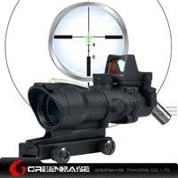 Greenbase Tactical Riflescopes Hunting 4X32 ACOG Green Optical Fiber Air Gun Fiber Rifle Scope W RMR